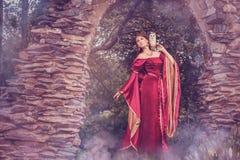 Schöne mittelalterliche Frau, mit einer Schleiereule auf ihrer Schulter stockfoto