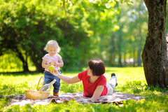 Schöne mittlere Greisin und ihr kleiner Enkel, die einen pic hat Lizenzfreies Stockfoto