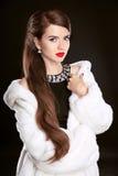 Schöne Mode Dame im Luxuspelzmantel und in den eleganten schwarzen dres Stockfotos