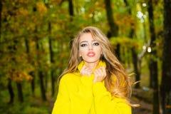 Schöne Modefrau im roten Kleid des Herbstes mit dem Fallen verlässt über Naturhintergrund Modeherbst-Porträtfrau lizenzfreies stockfoto