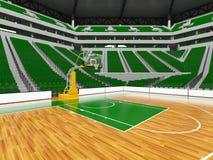 Schöne moderne Sportarena für Basketball mit grünen Stühlen Lizenzfreie Stockfotos