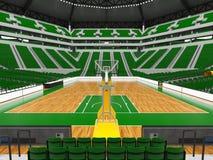 Schöne moderne Sportarena für Basketball mit grünen Stühlen Lizenzfreie Stockbilder