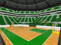 Schöne moderne Sportarena für Basketball mit grünen Stühlen Stockbild