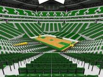 Schöne moderne Sportarena für Basketball mit grünen Stühlen Stockfotografie