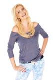 Schöne modische blonde Frau Stockfotos