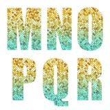 Schöne modische Funkelnalphabetbuchstaben mit Silber zum Gold-ombre vektor abbildung