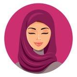 Schöne moslemische arabische Frau im hijab, das ihre Augen schließt, vector flachen Ikonenavatara Schönes Gesicht der arabischen  Lizenzfreies Stockfoto