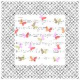 Schöne musikalische Karte mit Anmerkungen und Schmetterlingen Vektor Illust Lizenzfreies Stockbild