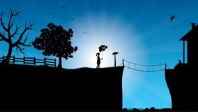 Schöne mysteriöse Nachtlandschaft und kleines Mädchen mit Bündel Ballonen vektor abbildung