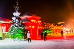 Schöne Nacht im chinesischen Schnee-Dorf Lizenzfreies Stockfoto