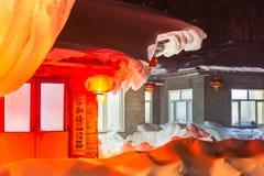 Schöne Nacht im chinesischen Schnee-Dorf Lizenzfreie Stockfotos