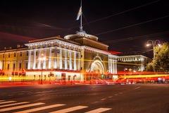 Schöne Nachtansicht von Admirality im Heiligen Lizenzfreies Stockfoto