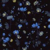 Schöne nahtlose Musterwind-Schlagblumen, lokalisiert auf Schwarzem Lizenzfreie Stockfotos