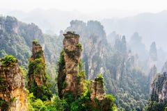 Schöne natürliche Quarzsandsteinsäulen von fantastischen Formen lizenzfreie stockbilder