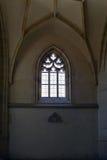Schöne neogothic Glasfenster Stockfotografie