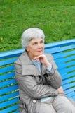 Schöne nette ältere Frau, die im Parkbankblau sitzt Stockfotos