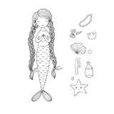 Schöne nette Karikaturmeerjungfrau mit dem langen Haar Sirene Hintergrundauszug, Abstraktion Lizenzfreie Stockbilder
