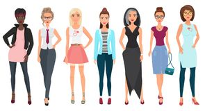 Schöne nette Kleidung der jungen Frauen in Mode Ausführliche Mädchenweibliche figuren Flache Artvektorillustration stock abbildung