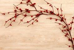 Schöne Niederlassung mit roten Beeren auf einem hölzernen Hintergrund Lizenzfreie Stockfotografie