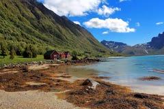 Schöne norwegische Landschaft mit einem See und roten Häusern Lizenzfreies Stockbild