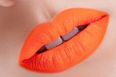 Schöne orange Lippen Stockbild