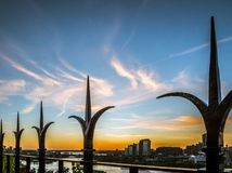 Schöne Ottawa-Skyline bei Sonnenuntergang Stockfotografie