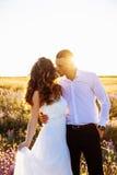 Schöne Paare auf dem Gebiet, Liebhabern oder Jungvermählten, die auf Sonnenuntergang mit perfektem Himmel aufwerfen Stockbild