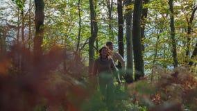 Schöne Paare auf einer Wanderung durch das Holz in den Herbstfarben stock video