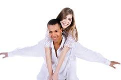 Schöne Paare auf Weiß lizenzfreie stockfotos