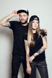 Schöne Paare der Mode zusammen Stockfotografie
