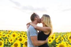 Schöne Paare, die Spaß auf den Sonnenblumengebieten haben Lizenzfreies Stockbild