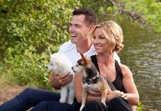 Schöne Paare mit Hunden am See Stockfotos