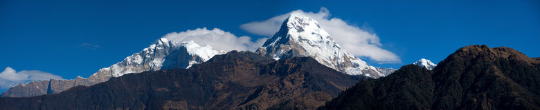 Schöne Panoramaansicht von Himalaja, Nepal Stockfotografie
