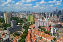 Schöne panoramische Vogelperspektive von Chinatown-Bezirk in Singapur stockbild