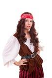 Schöne Piratenfrau auf weißem Hintergrund Stockfotos