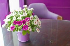 Schöne Plastikblumen im Metallvase. Stockbilder