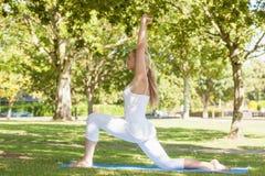 Schöne ponytailed Frau, die in eine Yogahaltung ausdehnt Stockbild