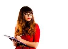 Schöne professionelle tragende Gläser der jungen Frau Lizenzfreie Stockfotos