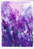 Schöne purpurrote Aquarellflecke, lila Bild Stockfotografie
