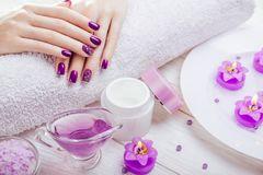 Schöne purpurrote Maniküre mit Badekurortwesensmerkmalen stockbild