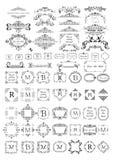 Schöne Rahmen, Vignetten und Titelsammlung für Monogramm, Heiratsdesign, Menükarte, Restaurant, Café, Hotel, Schmuck sto stock abbildung
