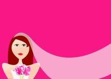 Schöne Redheadbraut mit Schleier und Blumenstrauß Stockfotos