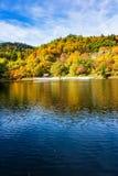 Schöne Reflexion von bunten Bäumen im Wasser von See während des Herbstes stockbild