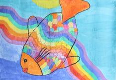 Schöne Regenbogenfische - Kinderaquarellmalerei Lizenzfreie Stockfotografie