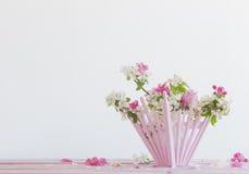 Schöne reife Äpfel und Niederlassungen im Vase Lizenzfreies Stockbild
