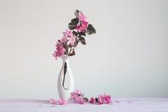 Schöne reife Äpfel und Niederlassungen im Vase Lizenzfreie Stockfotografie
