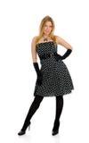 Schöne reizvolle Frau in der Stellung des eleganten Kleides Stockbild