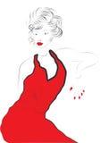 Schöne reizvolle junge Frau im Rot Stockbild