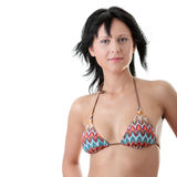 Schöne reizvolle Pass-Sitzfrau im Bikini Stockfotografie