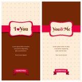 Schöne Retro- Liebesgrußkarten Stockbilder